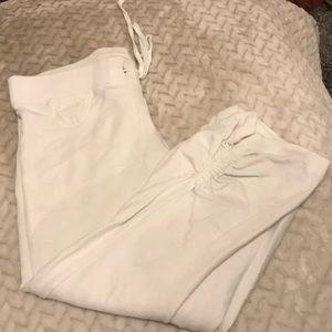 White low rise crappie sweatpants